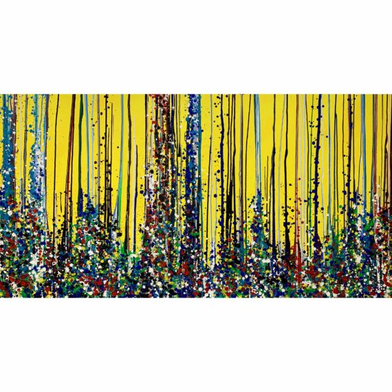 Towers- Yellow background. Original oil painting