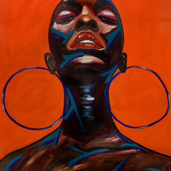 Abstract Portrait- Orange background